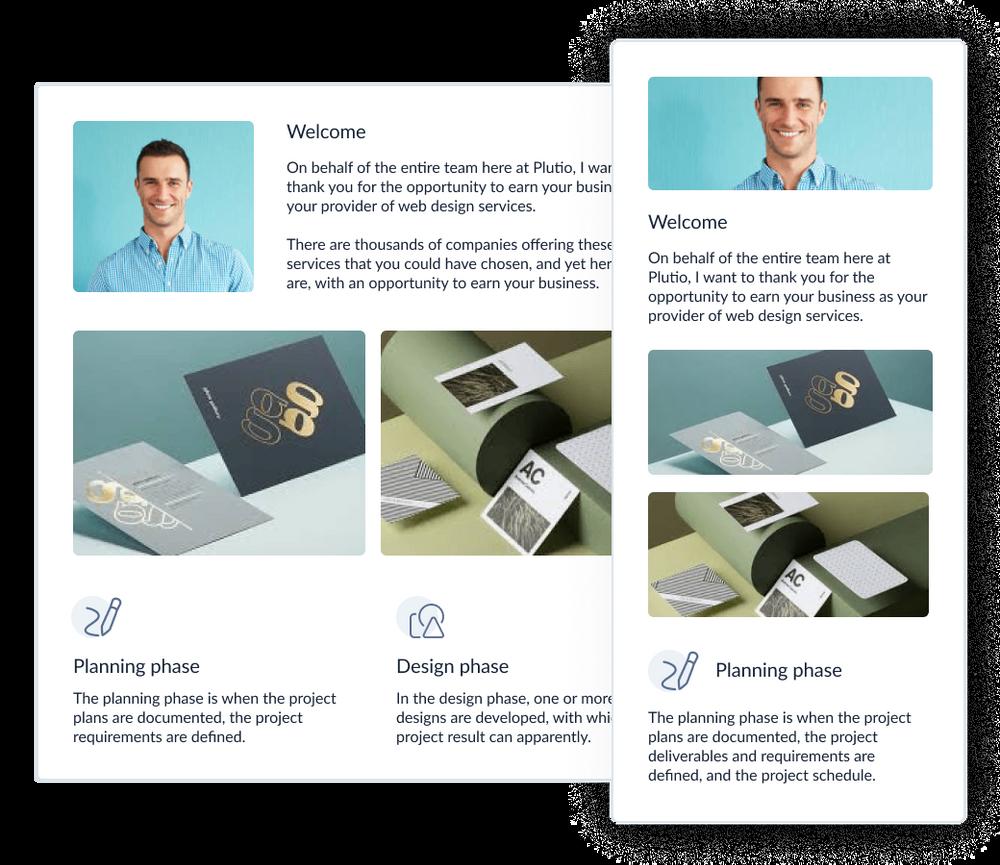 Plutio - illustration responsive design, invoice and proposal designer