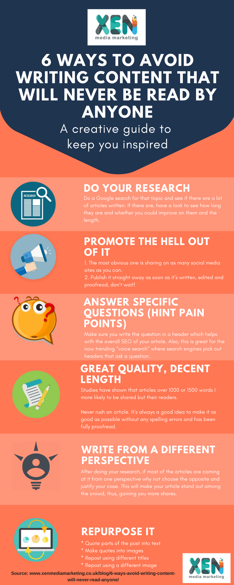 6 Ways To Avoid Writing Content That Will Never Be Read By Anyone infographic