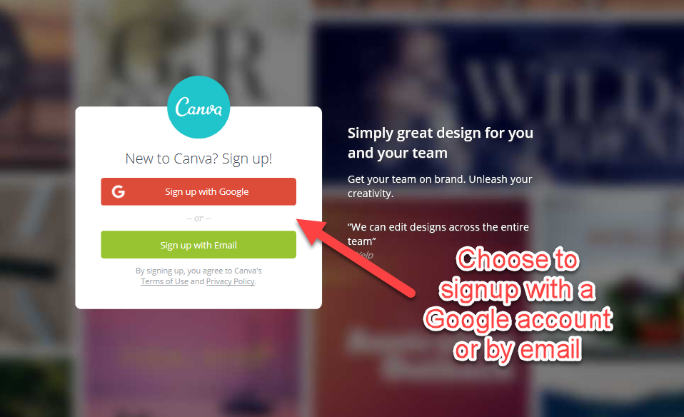 Register for Canva