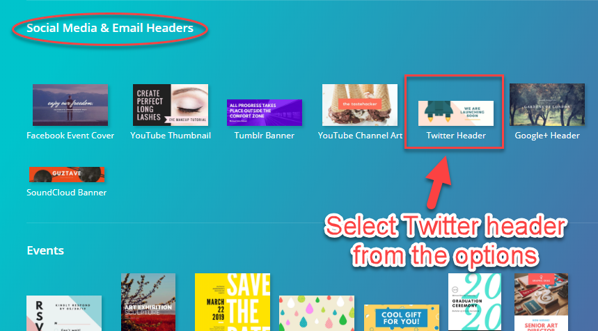 "Choose the ""Twitter header"" icon"