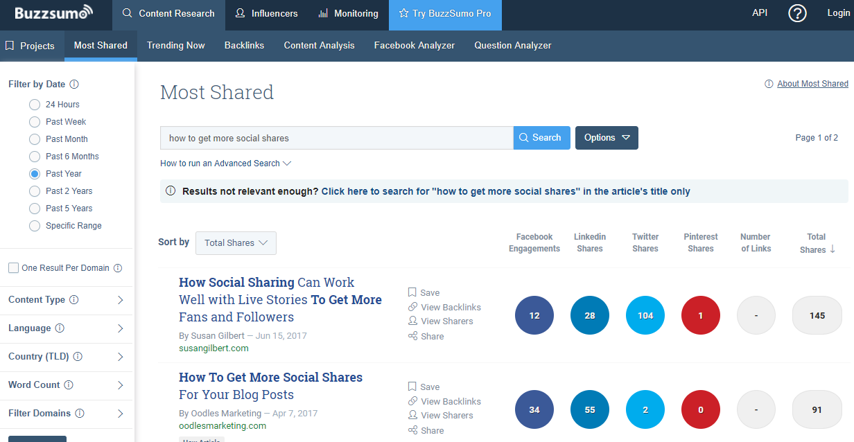 Buzzsumo for blog post ideas