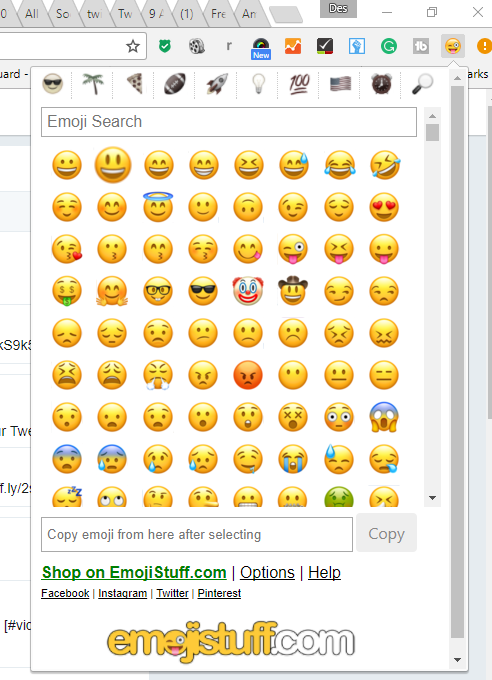 choice of emojis to use