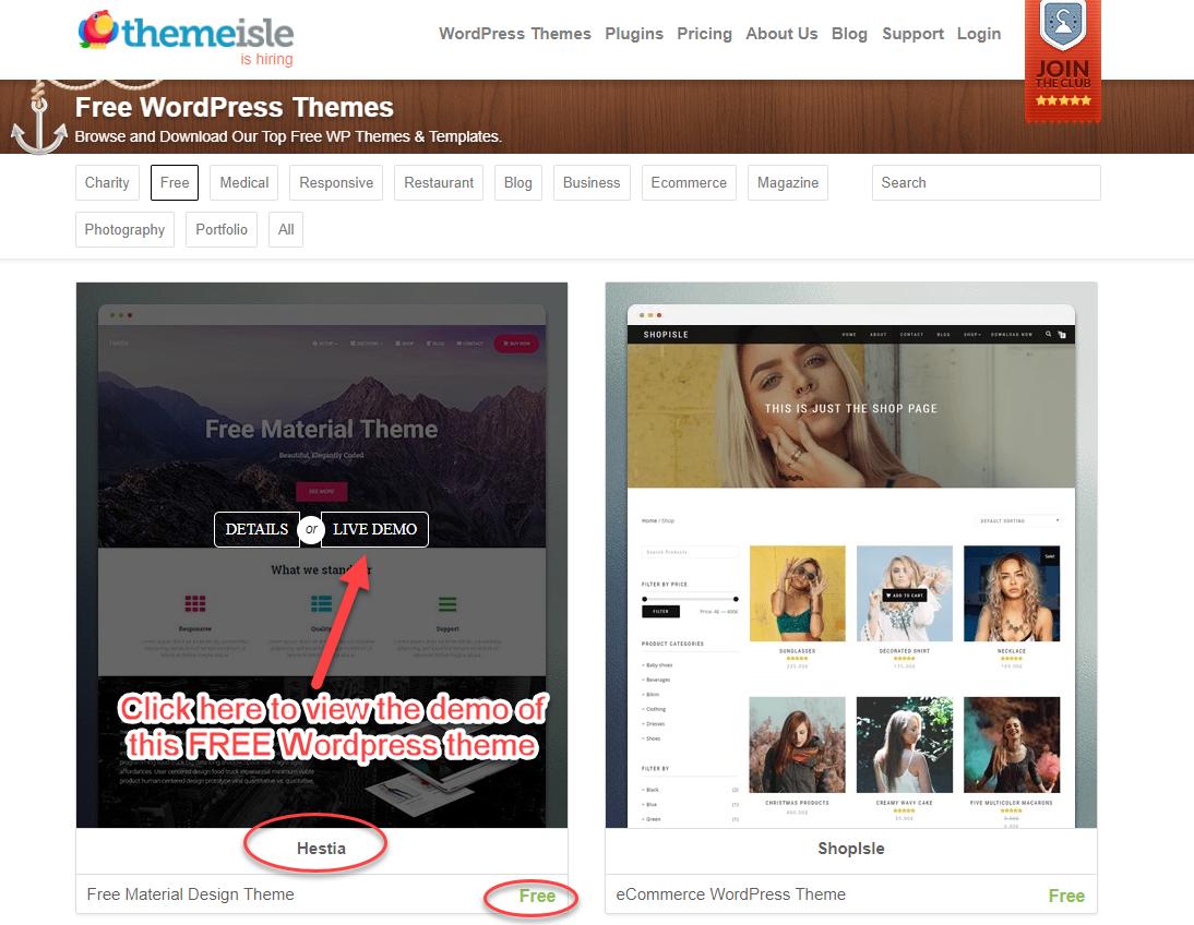 click to view hestia theme demo