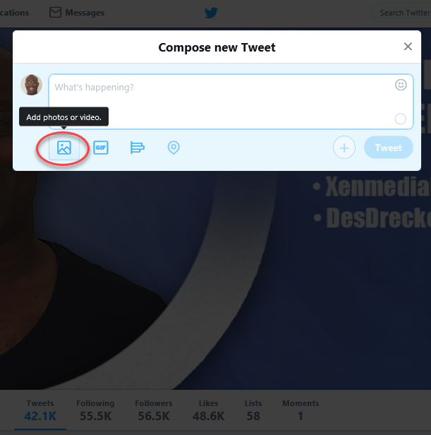 Compose a new tweet - add photo or video file