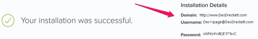 iPage WordPress installation successful.