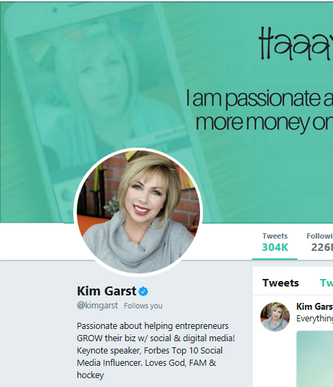 kim garst twitter description