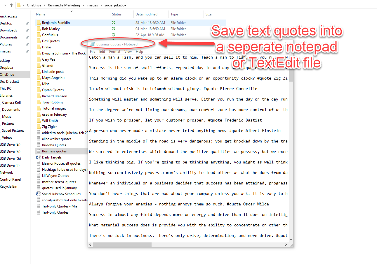 Save all your text quotes in a notepad or Textedit file- Social Jukebox