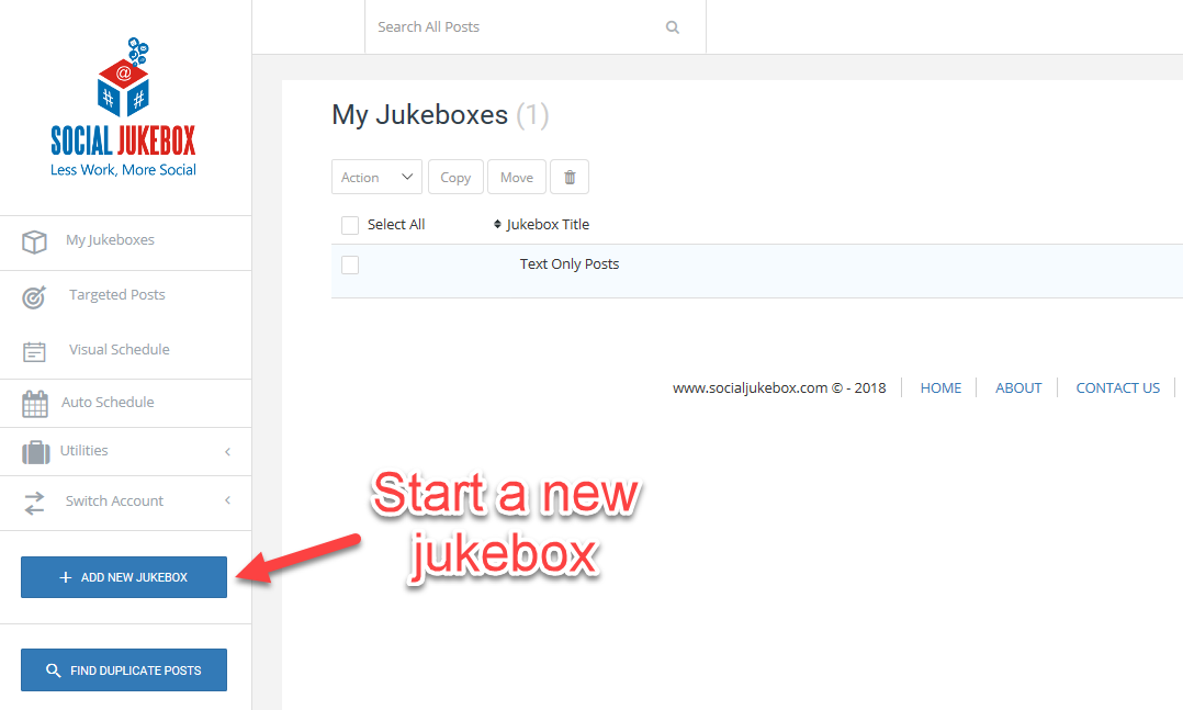"Start a new jukebox by clicking the ""add new jukebox"" button- Social Jukebox"
