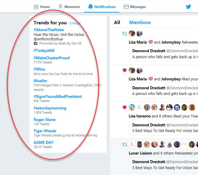 example of trending tweets
