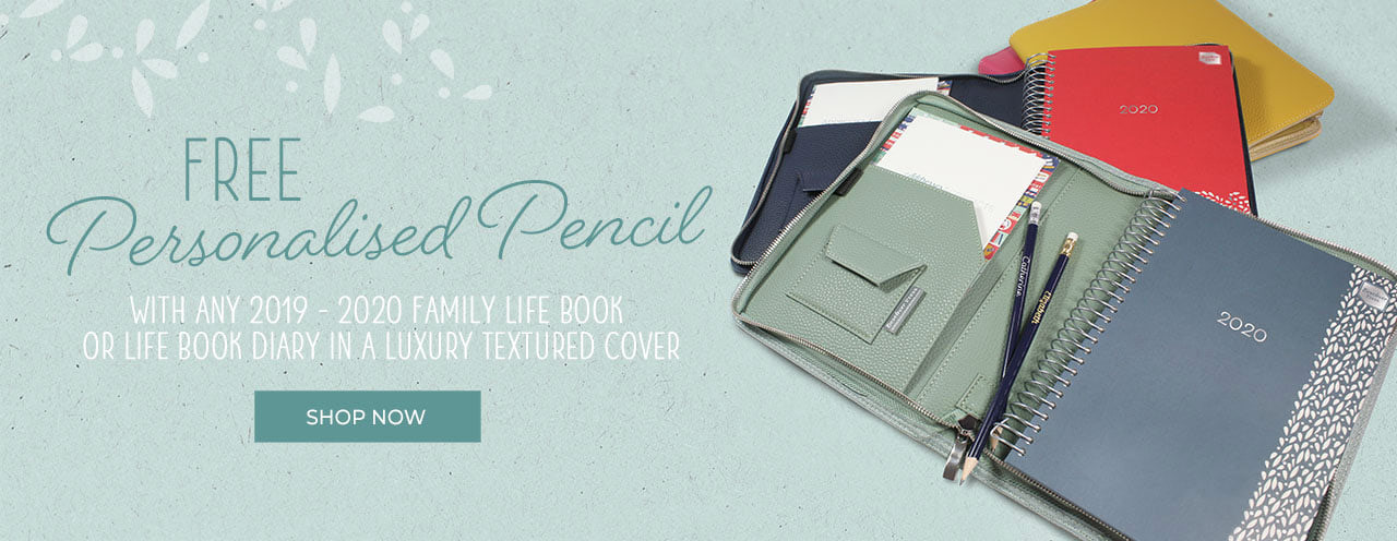 Special Offer - Free Personalised Pencil with Diary and Textured Cover