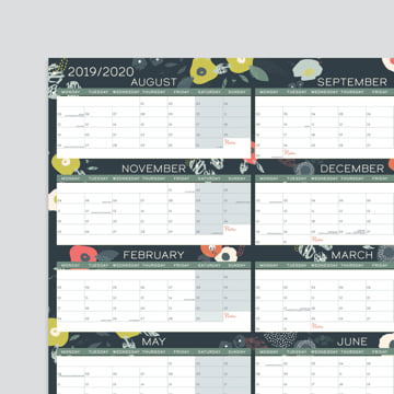 2019 - 2020 Academic Block Wall Planner-Laminated