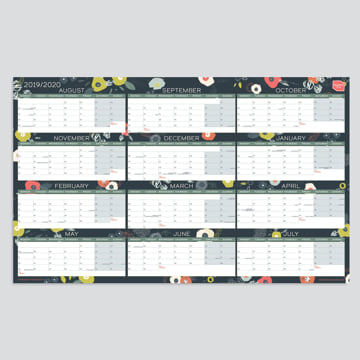 2019 - 2020 Academic Block Wall Planner