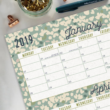 2019 Wall Planner (Block) non-laminated