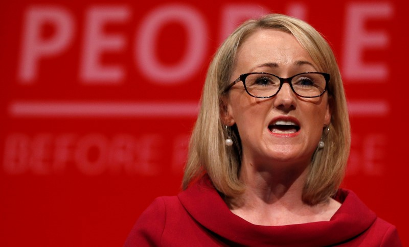 British Labour Party MP Rebecca Long-Bailey speaks at the Labour party annual conference in Brighton, Britain September 24, 2019. REUTERS/Peter Nicholls