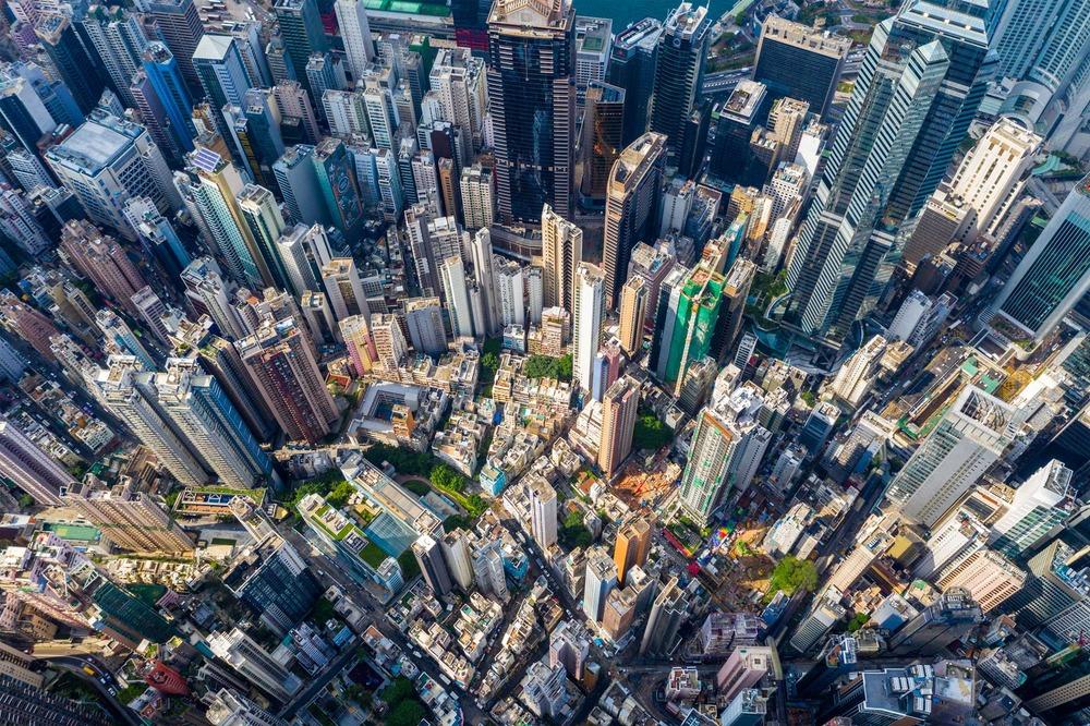 Central, Hong Kong 29 April 2019: Top down view of Hong Kong city. By leungchopan