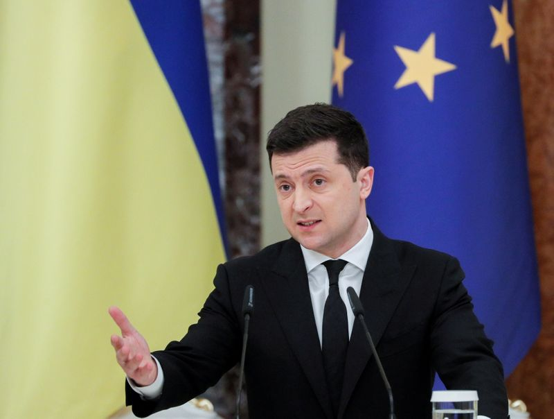 FILE PHOTO: Ukrainian President Volodymyr Zelenskiy speaks during a joint news conference with European Council President Charles Michel in Kyiv, Ukraine March 3, 2021. Sergey Dolzhenko/Pool/File Photo