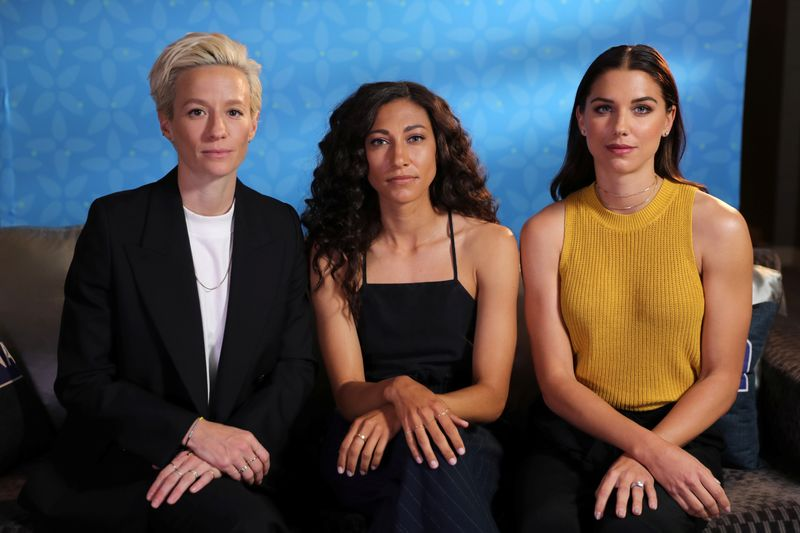 USA Women's Soccer team forwards (L-R) Megan Rapinoe, Christen Press, and Alex Morgan pose for a portrait in Beverly Hills, California, U.S., March 26, 2019. REUTERS/Lucy Nicholson