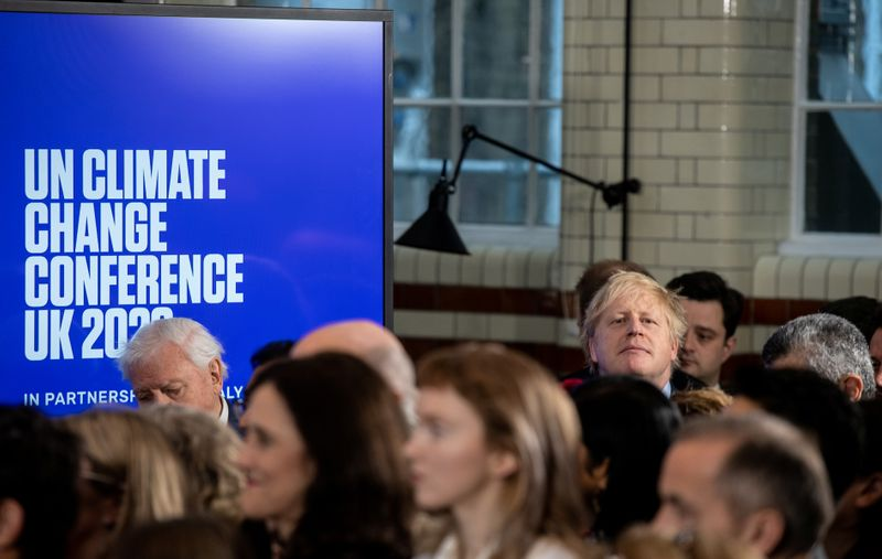 British Prime Minister Boris Johnson attends a conference about the UK-hosted COP26 UN Climate Summit, at the Science Museum in London, Britain February 4, 2020. Chris J Ratcliffe/Pool via REUTERS