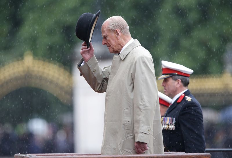 Britain's Prince Philip, in his role as Captain General, Royal Marines, attends a Parade to mark the finale of the 1664 Global Challenge, on the Buckingham Palace Forecourt, in central London, Britain August 2, 2017. The 96-year-old husband of Britain's Queen Elizabeth, made his final solo appearance at the official engagement on Wednesday, before retiring from active public life. REUTERS/Yui Mok/Pool