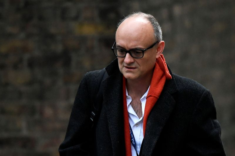 Dominic Cummings, special adviser for Britain's Prime Minister Boris Johnson, arrives at Downing Street, in London, Britain, November 13, 2020. REUTERS/Toby Melville/File Photo