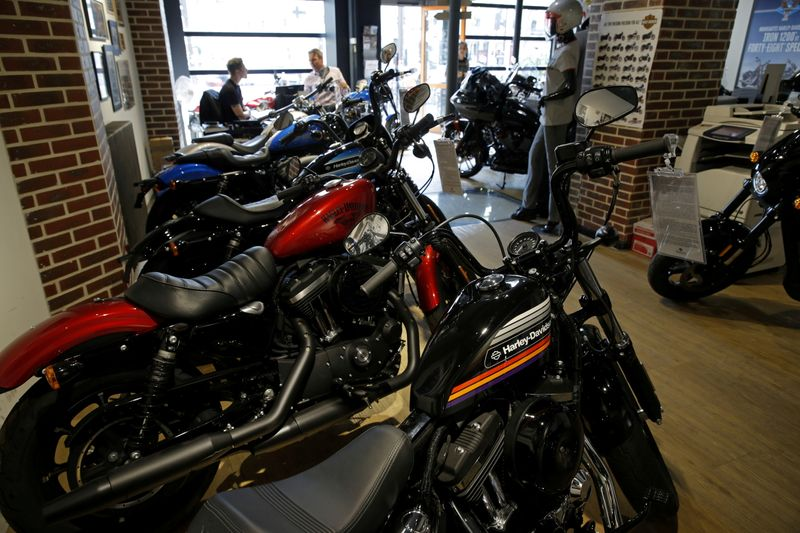 The logo of U.S. motorcycle company Harley-Davidson is seen on one of their models at a shop in Paris, France, August 16, 2018. REUTERS/Philippe Wojazer/File Photo/File Photo