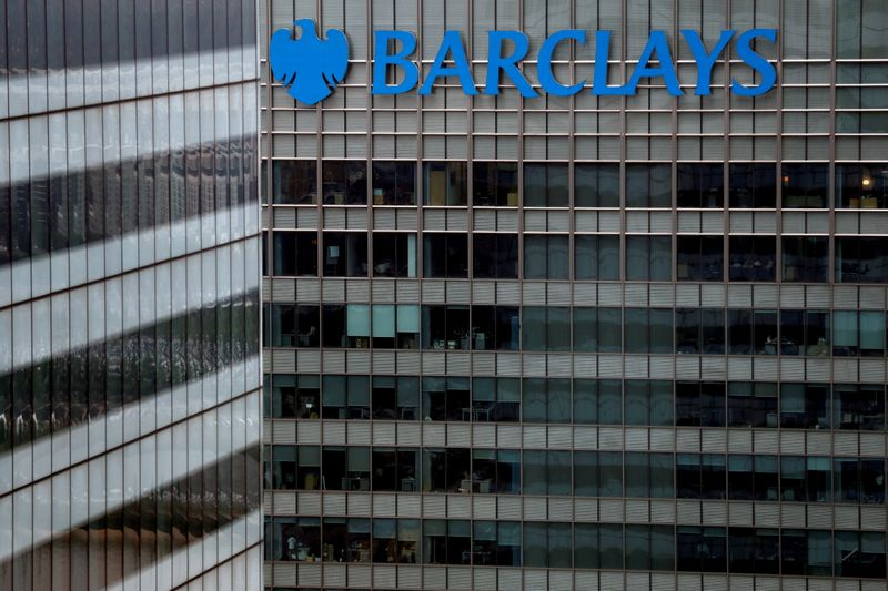 FILE PHOTO: A Barclays bank building is seen at Canary Wharf in London, Britain May 17, 2017. REUTERS/Stefan Wermuth