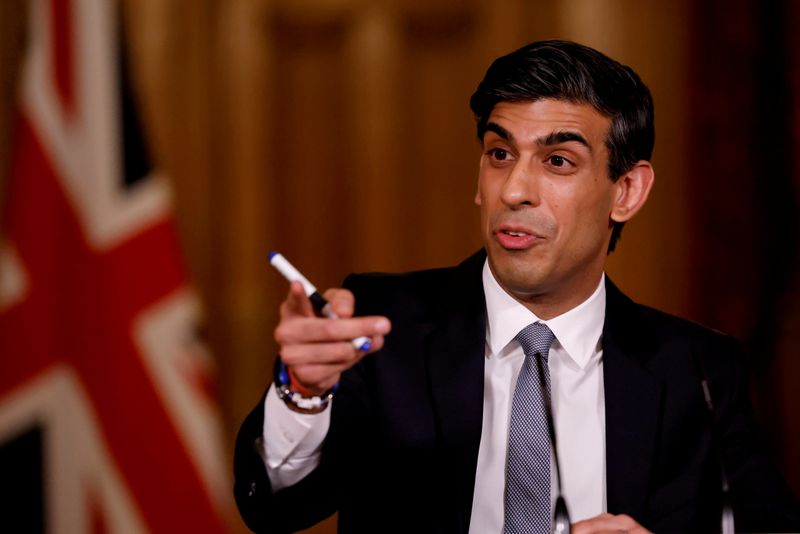 British finance minister Rishi Sunak attends a virtual press conference inside 10 Downing Street in central London, Britain March 3, 2021. Tolga Akmen/Pool via REUTERS
