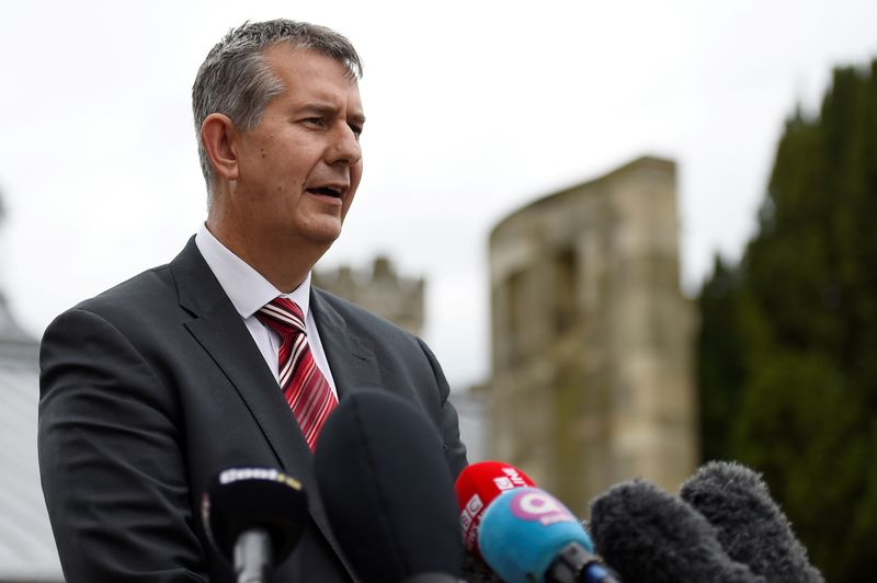Democratic Unionist Party's (DUP) Edwin Poots makes a statement to the media outside Stormont Castle in Belfast, Northern Ireland June 28, 2017. REUTERS/Clodagh Kilcoyne/File Photo
