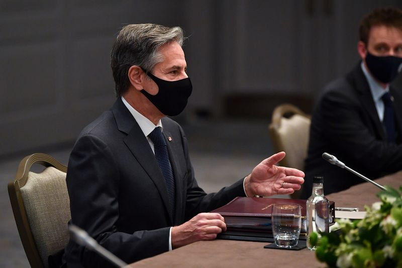 U.S. Secretary of State Antony Blinken wearing a face mask speaks with Japan's Foreign Minister Toshimitsu Motegi (not pictured) during a bilateral meeting as part of the G7 foreign ministers meeting, in London, Britain May 3, 2021. Ben Stansall/Pool via REUTERS