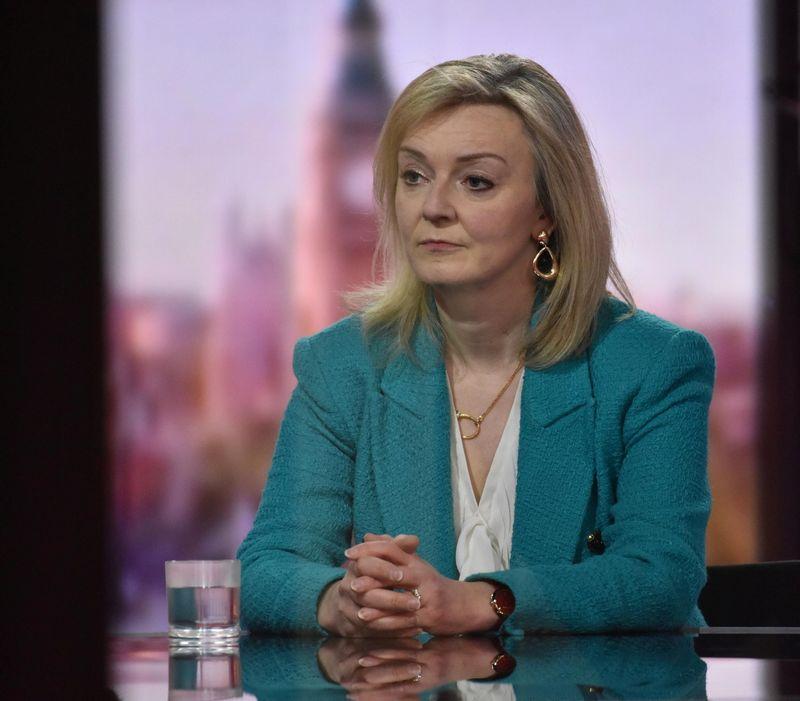 Britain's International Trade Secretary Liz Truss attends BBC TV's The Andrew Marr Show in London, Britain, April 25, 2021. Jeff Overs/BBC/Handout via REUTERS DOWNLOAD PICTURE