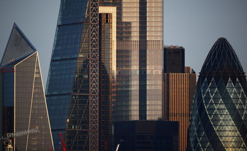 FILE PHOTO: Skyscrapers in The City of London financial district are seen in London, Britain, September 14, 2020. REUTERS/Hannah McKay//File Photo
