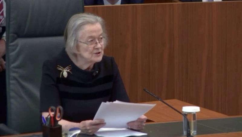 FILE PHOTO: Head of Supreme Court of the United Kingdom Lady Brenda Hale announces ruling, that British Prime Minister Boris Johnson's decision to prorogue parliament was unlawful, ahead of Brexit, at the Supreme Court of the United Kingdom in London, Britain September 24, 2019, in this still image taken from Supreme Court/Parliament TV footage. Supreme Court/Parliament TV via Reuters.
