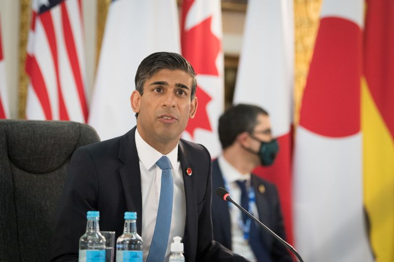 FILE PHOTO: Britain's Chancellor of the Exchequer Rishi Sunak attends a meeting of finance ministers from across the G7 nations ahead of the G7 leaders' summit, at Lancaster House in London, Britain June 4, 2021. Stefan Rousseau/PA Wire/Pool via REUTERS/File photo