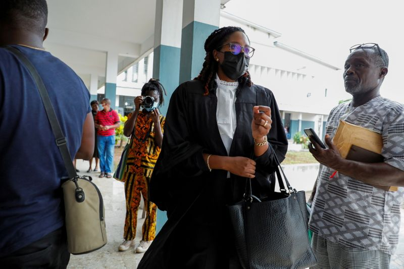 FILE PHOTO: Julia Selman Ayetey, lawyer for the twenty-one people, who where detained by police and accused of unlawful assembly and promoting an LGBTQ agenda, speaks to journalists at the Ho Circuit Court in Ho, Volta Region, Ghana June 4, 2021. REUTERS/Francis Kokoroko/File Photo