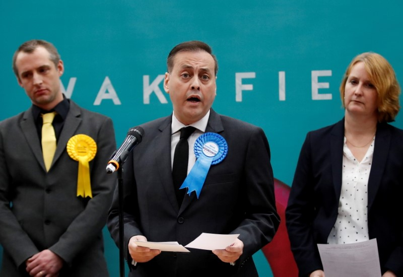 FILE PHOTO: Conservative Party candidate Imran Ahmad-Khan speaks after he is announced as the winner for the constituency of Wakefield at a counting centre for Britain's general election in Wakefield, Britain December 13, 2019. REUTERS/Andrew Boyers/File Photo