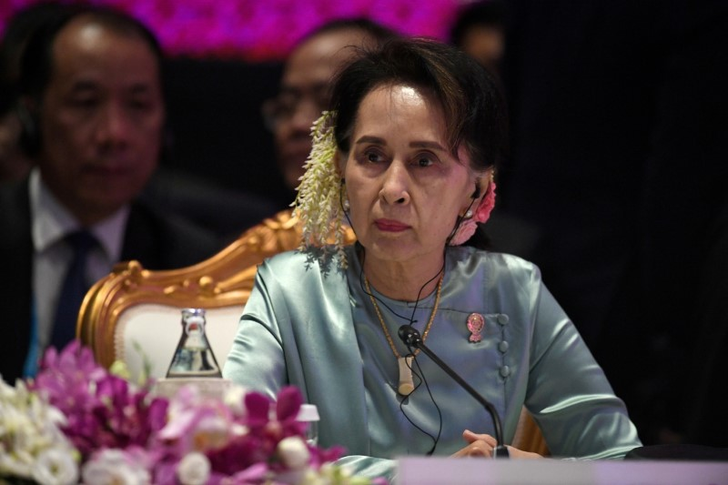 FILE PHOTO: State Counsellor of Myanmar Aung San Suu Kyi attends the 22nd ASEAN Plus Three Summit in Bangkok, Thailand, November 4, 2019. REUTERS/Chalinee Thirasupa