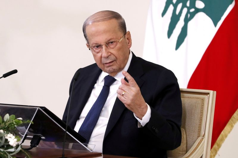 FILE PHOTO: Lebanon's President Michel Aoun speaks during a news conference at the presidential palace in Baabda, Lebanon October 21, 2020. Dalati Nohra/Handout via REUTERS