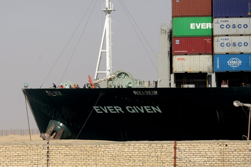 FILE PHOTO: Ship Ever Given, one of the world's largest container ships, is seen after it was fully floated in Suez Canal, Egypt March 29, 2021. REUTERS/Mohamed Abd El Ghany/File Photo