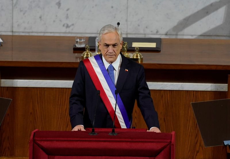 FILE PHOTO: Chile's President Sebastian Pinera attends his annual State of the Nation address in Santiago, Chile June 1, 2021. Chile Presidency/Handout via REUTERS