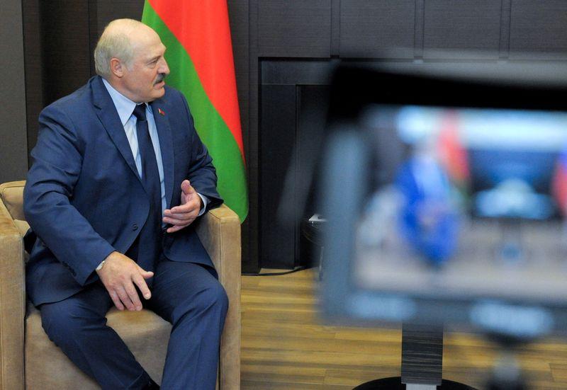 FILE PHOTO: Belarusian President Alexander Lukashenko is seen during a meeting with Russian President Vladimir Putin in Sochi, Russia May 28, 2021. Sputnik/Mikhail Klimentyev/Kremlin via REUTERS/File Photo