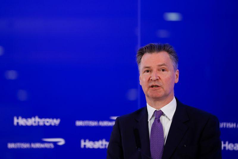 FILE PHOTO: Heathrow Airport CEO John Holland-Kaye speaks at a news conference at Heathrow Airport in London, Britain, May 17, 2021. REUTERS/John Sibley