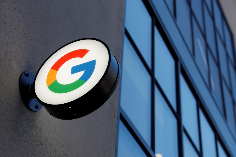 FILE PHOTO: A sign is seen at the entrance to the Google retail store in the Chelsea neighborhood of New York City, U.S., June 17, 2021. REUTERS/Shannon Stapleton