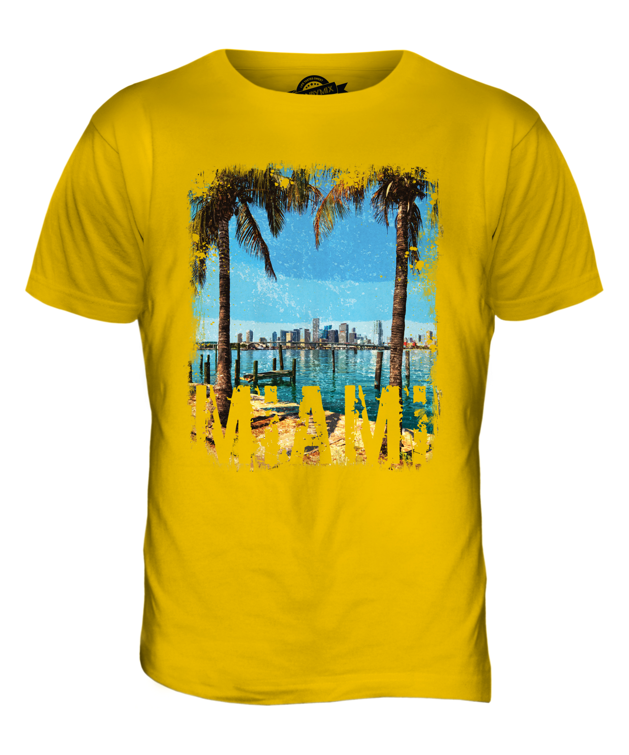 miami grunge print mens t shirt swag top beach florida white short sleeve top ebay. Black Bedroom Furniture Sets. Home Design Ideas