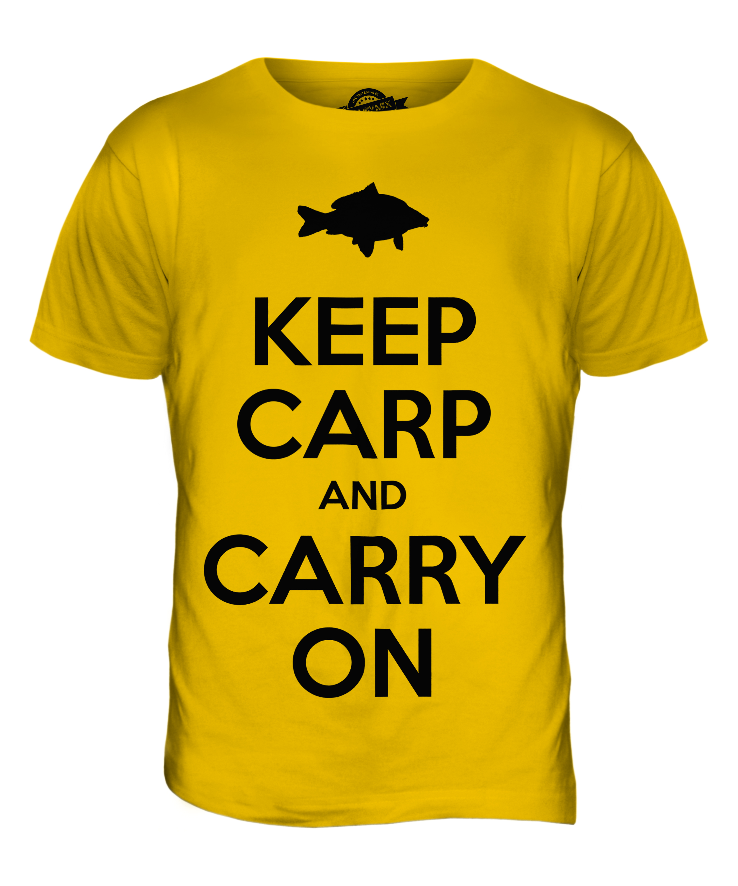 KEEP CARP AND CARRY ON MENS FUNNY PRINTED T-SHIRT FISHING GIFT TOP ...