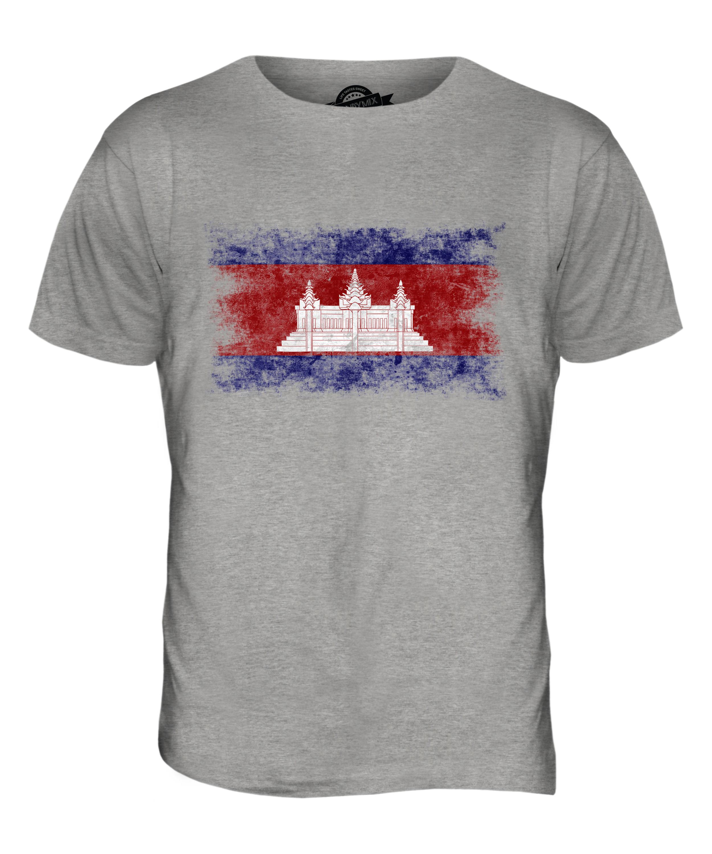 Camboya-Bandera-Apenada-Camiseta-Hombre-Top-Kampuchea-Futbol-Camboyano-Camisa