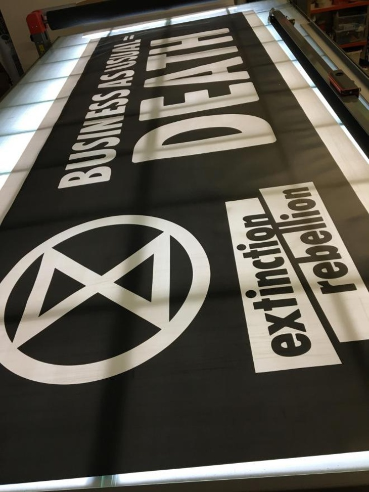 Extinction Rebellion PVC outdoor banner in production