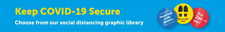 social distancing floor graphics library, signage and posters