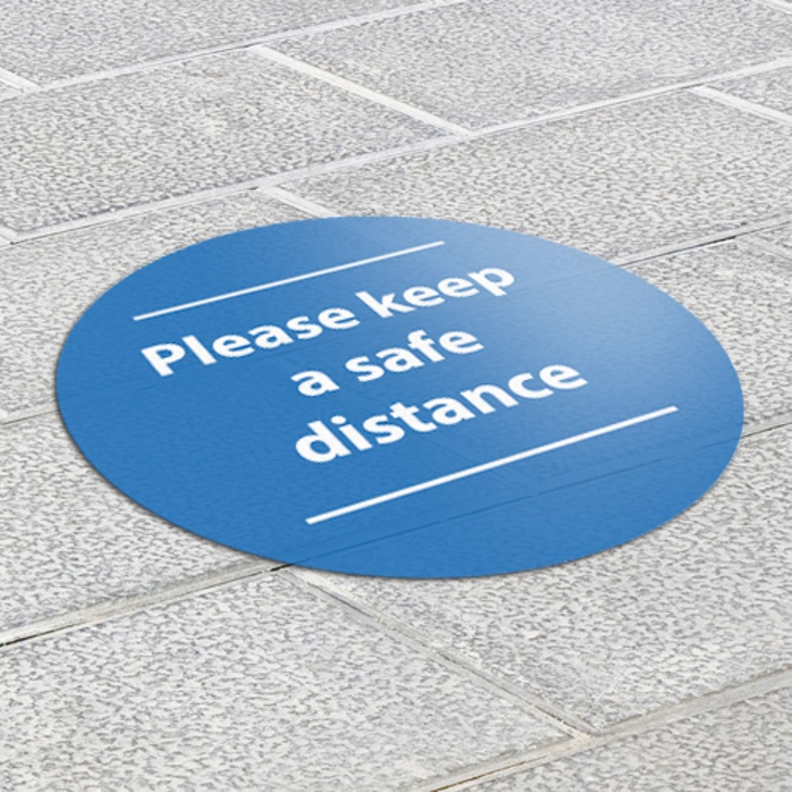 Please keep a safe distance social distancing graphics installation