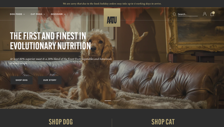 AATU Dog and Cat Food website