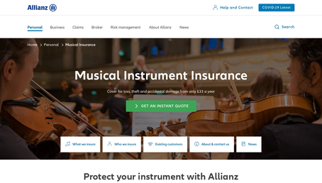 Allianz Musical Insurance website